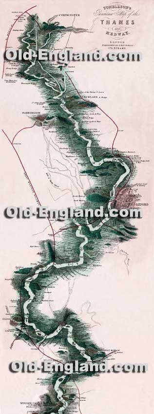 William Tombleson's 1840 map of the Thames from source to sea. Available for purchase in two different sizes. Click for more Thames images