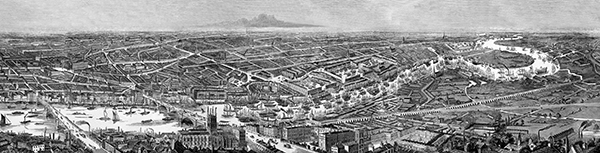 Illustrated London News 1845 Panorama of London and the River Thames.